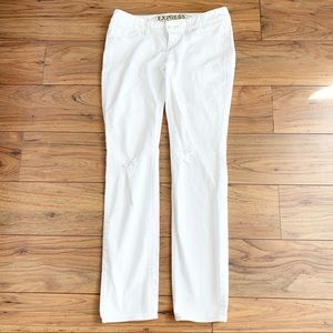 Express White Distressed Low Rise Skinny Jean